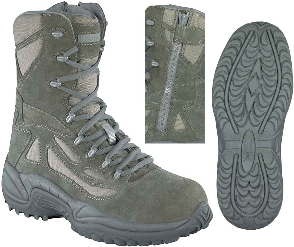 Reebok Stealth 8-in Safety Toe Boots with Side Zipper - Sage - Mens. Zoom bb3c99935