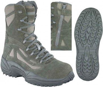 Reebok Stealth 8-in Safety Toe Boots with Side Zipper - Sage - Mens