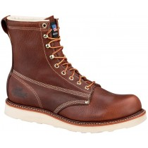 Thorogood 8-in American Heritage Wedge Safety Plain Toe Boots - Brown - Mens
