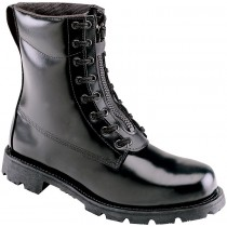 Thorogood 8-in Front Zip Oblique Toe Station Boots - Black - Mens