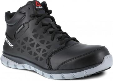 Reebok Sublite Cushion Mid Cut Leather Composite Toe Work Shoe - Black - Mens