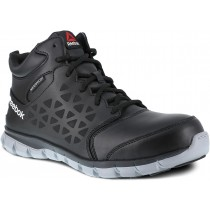 Reebok Sublite Cushion Mid Cut Leather Composite Toe Work Shoe - Black - Mens